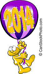 New year 2014 arrives - Man flying in a balloon with the...