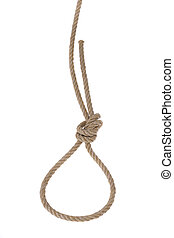 Loop made ??of rope for hanging. On a white background.