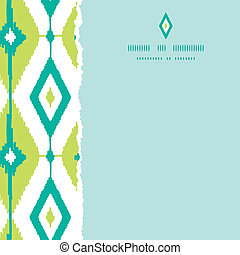 Emerald green ikat diamonds square torn seamless patterns backgrounds