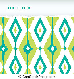 Emerald green ikat diamonds horizontal torn seamless...