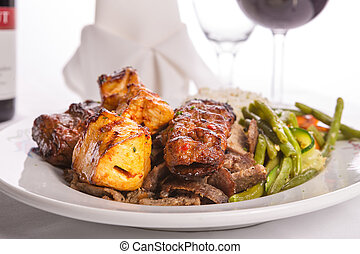 Mixed Chicken, Beef, Adana, Doner Kebabs Served with Rice -...