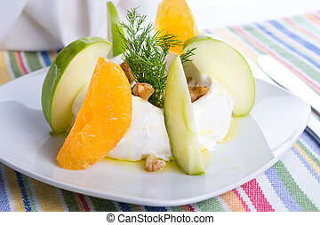 Strained yogurt labneh citrus salad with peeled oranges and...