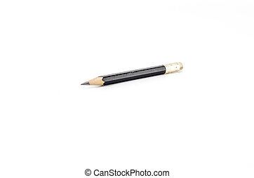 short black pencil isolated on white background