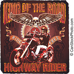 motorcycle king of the road - classic motorcycle vector...