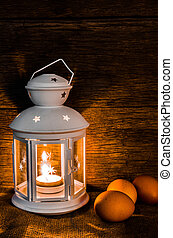 Still life lamplight and eggs - front shot still life...