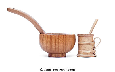 wooden utensils on white background