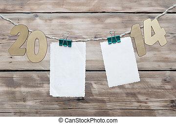 catorce, mil, año, número, dos, decoración, soga, ahorcadura, nuevo