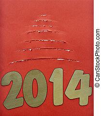 rasgado, papel, árbol, navidad