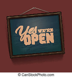 We are Open Sign - vintage sign, vector Eps10 illustration