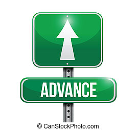 advance road sign illustration design over a white...