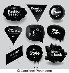 Fashion sale speech bubbles set