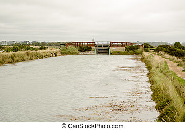 Lock at salt marsh, Keyhaven, Hamps - View towards a lock...