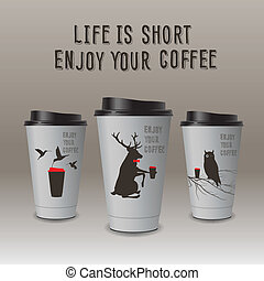 Take-out coffee in thermo cup. Enjoy your coffee. - Take-out...