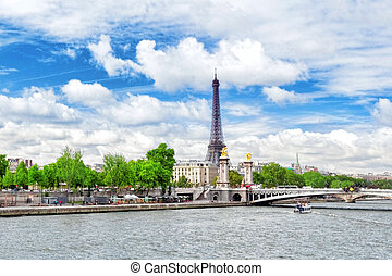 Alexandre III Bridge over the Seine and the Eiffel Tower on...