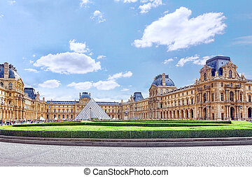 PARIS - SEPTEMBER 18:Glass pyramid and the Louvre museum on...