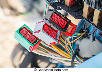 Car electrical system - Close up photo of the car electrical...