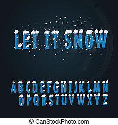 Retro type font with snow, vector Eps10 illustration.