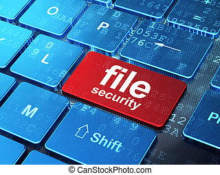 Protection concept: File Security on computer keyboard background