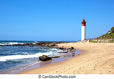 Coastal Seascape With Red and White lighthouse - coastal...