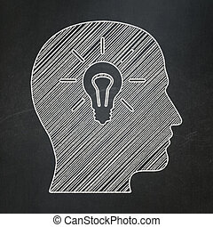 Marketing concept: Head With Light Bulb icon on Black...