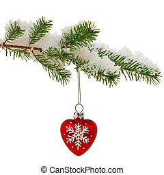 Christmas bauble on snow covered tree branch - Red heart...