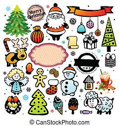 Vintage Christmas set of design elements
