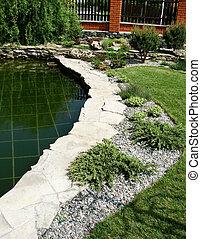 home garden - A lake is in a home garden...