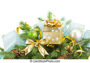 fir tree and christmas decorations with gift box isolated on...