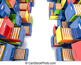 file cabinet - 3d image of colorful file cabinet