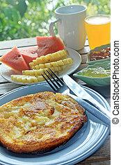 cacerola, pastel, desayuno