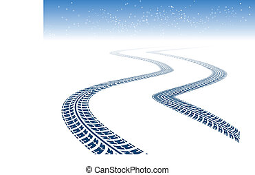 Winter tire tracks in perspective view with snowflakes
