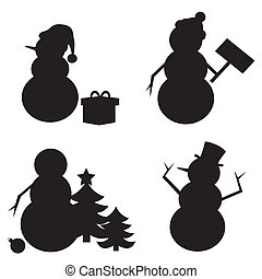 Snowman Silhouette isolated on white background.