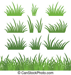Green grass, seamless and set - Line seamless and set of...