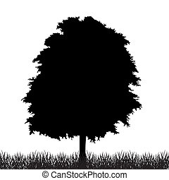 Silhouette of tree with grass. Vector