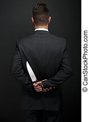 profesjonalny, kelner, nóż, Ręka