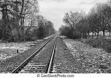 Railroad Track into the Distance BW