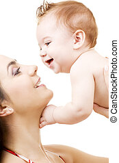 baby boy in mother hands - picture of happy mother with baby...
