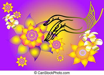 hand line thai classic - art, line, asia, thai, wall, gold,...