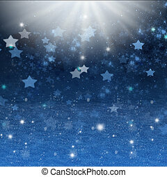 christmas night background with stars and snow - blue...