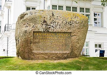 Memorial stone, Heiligendamm - Memorial stone for Friedrich...