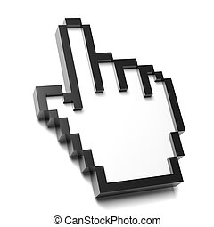 Hand Mouse Pointer Pixelated on White Background 3D...
