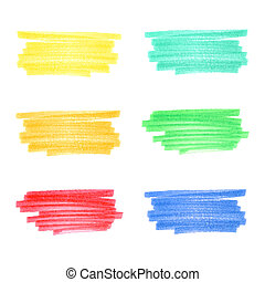 Handmade marker stripes set 5 flat colors - Vector handmade...