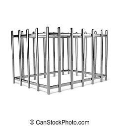 Iron Cage - Iron Empty Cage on White Background 3D...