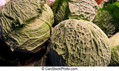 Big heads of cabbage in the stand The cabbages are all big...