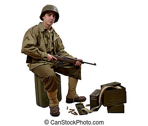 americn soldier and his M1 carbine - young American...