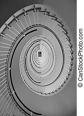 Spiral staircase from worms eye view