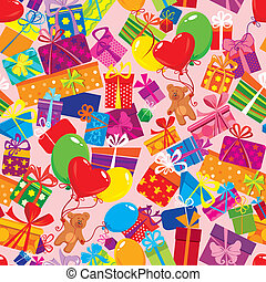 Seamless pattern with colorful gift boxes, presents,...