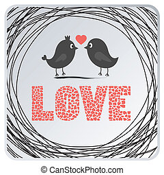 Love birds card2 - Two birds in love. Card for everyone.