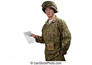 young American soldier shows a letter - young American...