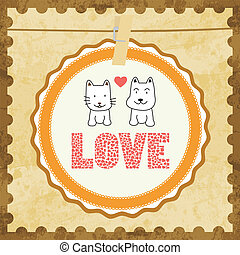 Love cat and dog card2